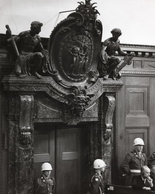 The ornate marble doorway inside Courtroom 600