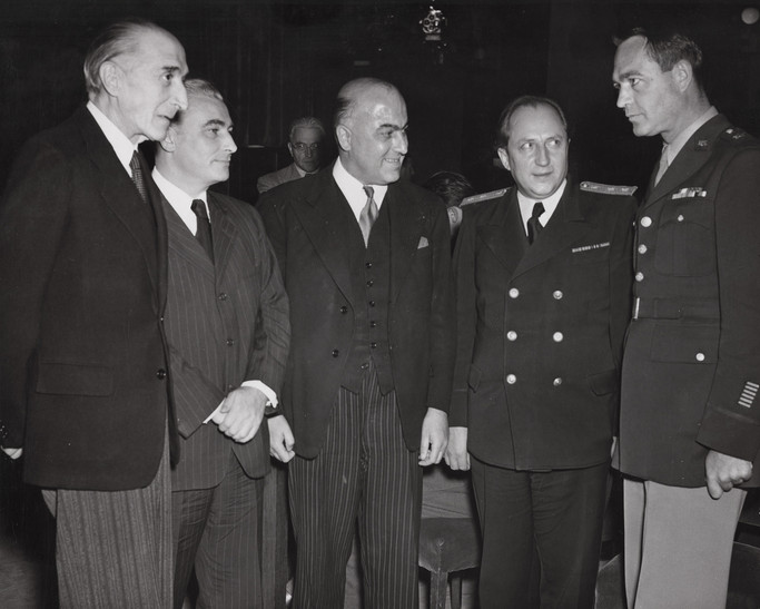 Allied prosecution team members from L to R: Auguste Champetier de Ribes (France), Thomas J. Dodd (USA), Sir David Maxwell Fyfe (UK), Roman Rudenko (USSR), and Telford Taylor (USA)
