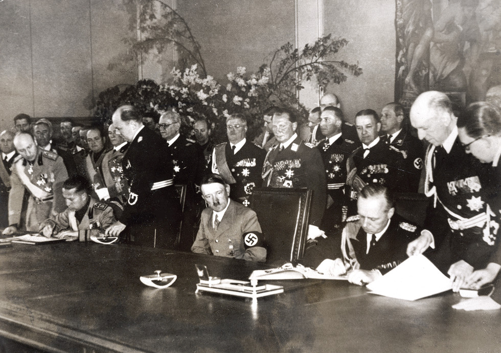 Axis powers were strengthened by a full military and political alliance between Germany and Italy (The Pact of Steel, May 22, 1939). Foreign Minister Joachim von Ribbentrop signs for Germany. Japan joined the Axis on September 27, 1940 – one year after Germany's invasion of Poland and the beginning of World War II.