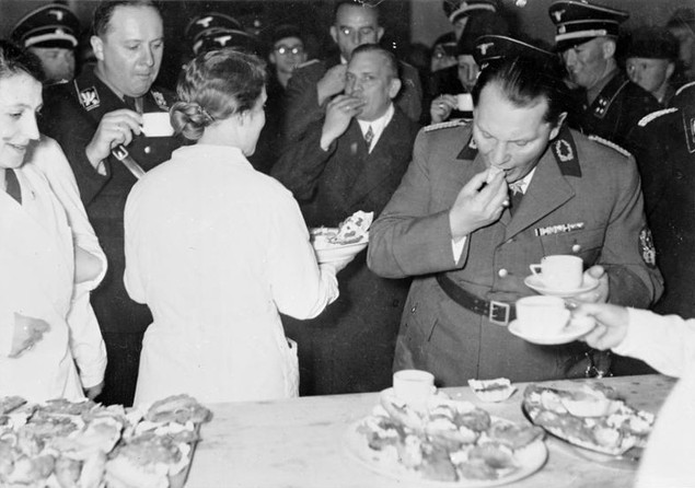 """Hermann Goering at a Berlin Green Week exhibition entitled """"The Frugal Housewife"""" in 1937"""