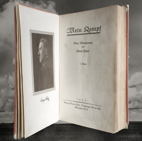 First edition of Hitler's Mein Kampf. Translated: 'My Struggle'