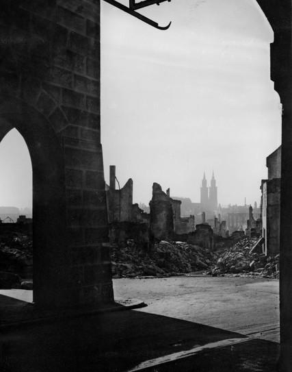 View of Nuremberg rubble, 1945