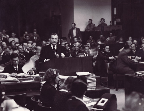 United States Chief Prosecutor, Robert H. Jackson delivers the opening address on Nov. 20, 1945