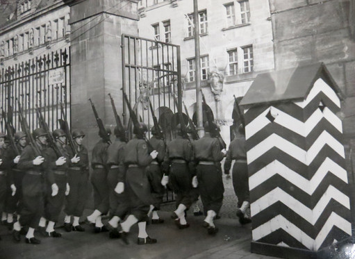 Allies military guards rotated shifts outside the Palace of Justice – which was one of the busiest buildings in Europe, as approximately 2,800 people came and went each day during the trial.