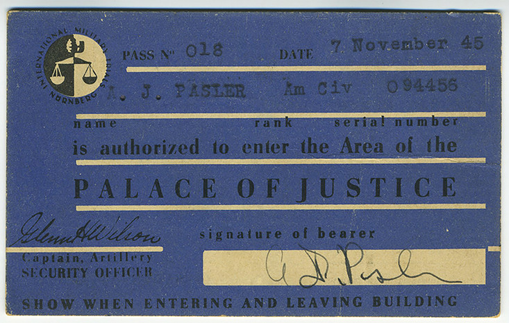 ID card for entering the Palace of Justice in the summer/fall of 1945. In March, 1946 new photo ID cards were issued.