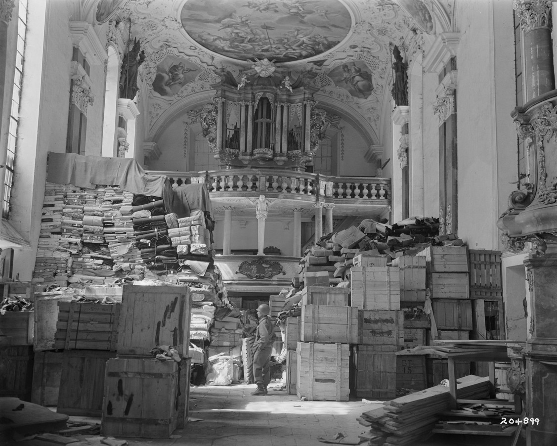German loot stored in church at Ellingen, Germany found by troops of the U.S. Third Army on April 24,1945