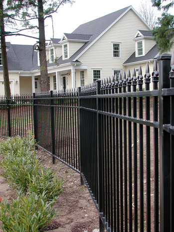 Wrought Iron Fence w/ Pointed Tops