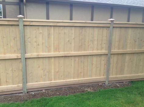 Solid Cedar Fence w/ 3 Rails