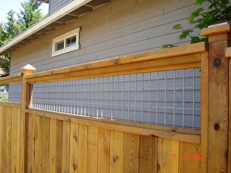 Solid Cedar Fence w/ Wire Mesh lattice