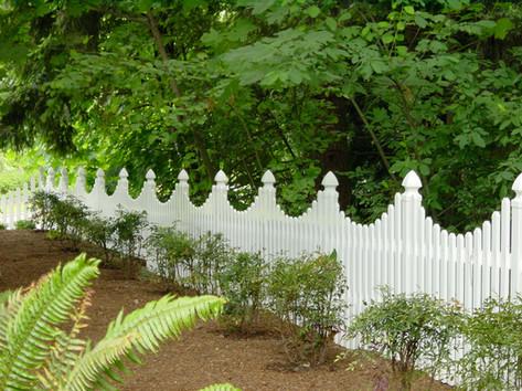 Custom White Vinyl Picket Fence
