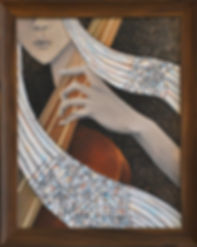 Mixed media painting of woman playing the cello or violin