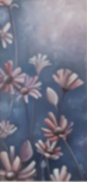 blue moonlight, flowers at night oil painting