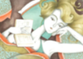 reading beauty illustration in mixed media.jpg
