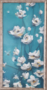 white blossoms in blue background oil painting