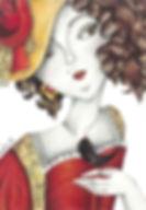 illustration of venitian princess, mixed media