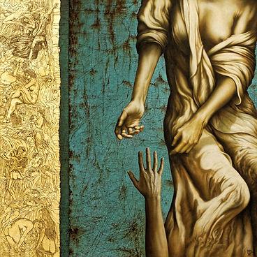 Tableau d'Alain Le Junter femme tendant les maoins vers une main d'homme