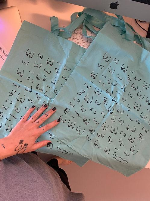 Sample: minty blue titties bags