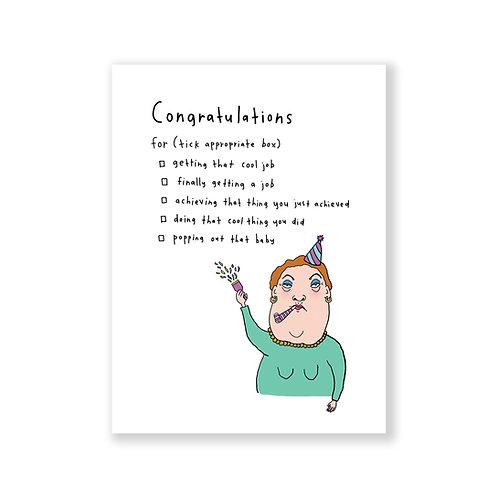 Congrats tick box card