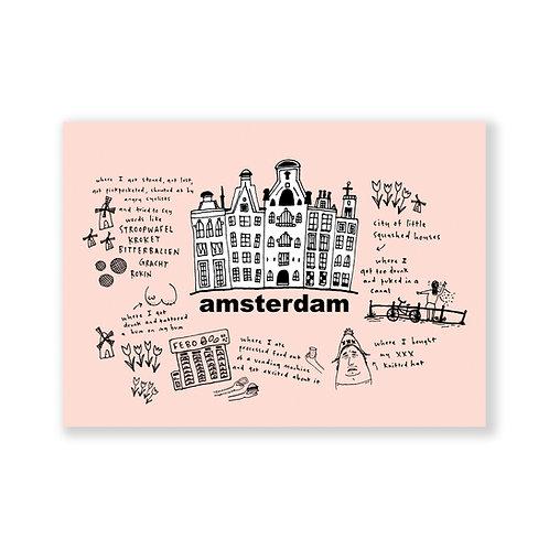 Amsterdam post card: pink