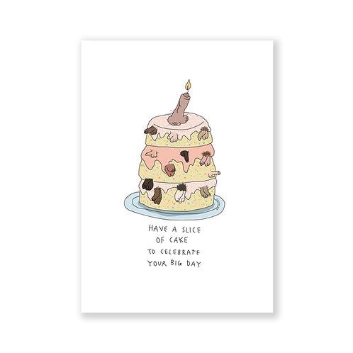 Penis birthday cake card