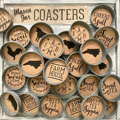 Mason Jar Lid Coasters (Barn Metal)