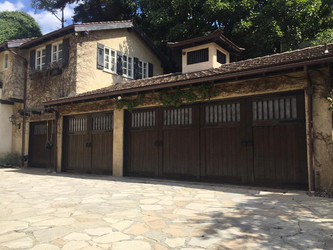 Driveway Metal Gates & Wooden Garage Doors by METHOD in Los Angeles