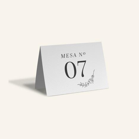 Nº de mesa impresso