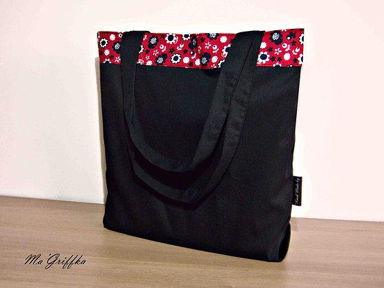 Sac Cabas Réversible Noir Fleurs noires et rouges