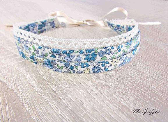 Bijoux 3 en 1 collier serre-tête bracelet Double ruban libertydentelle et fleurs