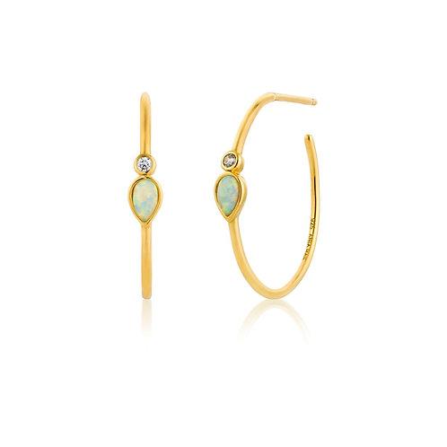 Opal colour raindrop hoop earrings gold