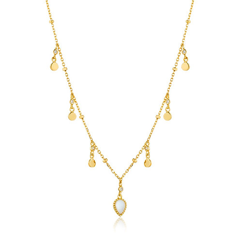 Dream drop discs necklace gold