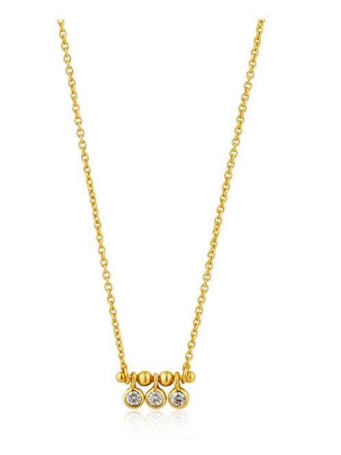 Shimmer triple stud necklace Gold