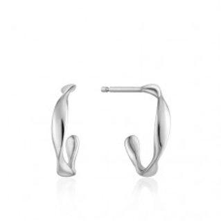 Twist mini hoop earrings silver