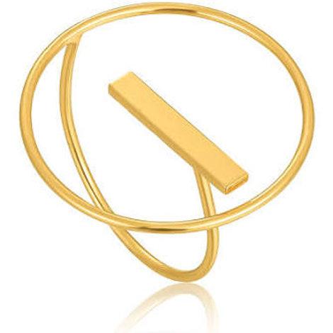 Modern circle adjustable ring gold