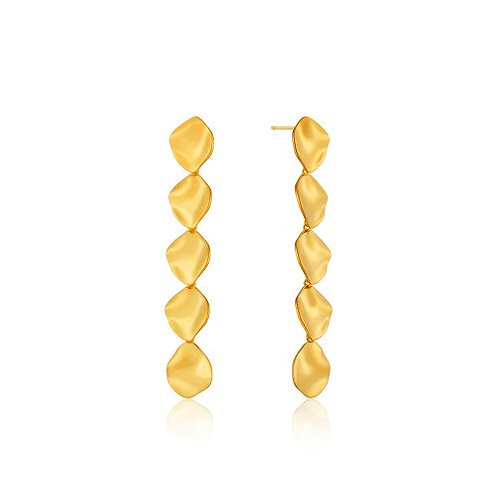 Crush multiple discs drop earrings gold