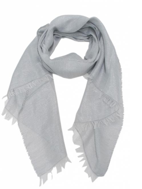 Gewoven sjaal zilver glitter