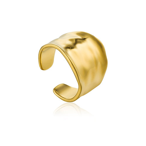 Crush wide adjustable ring gold