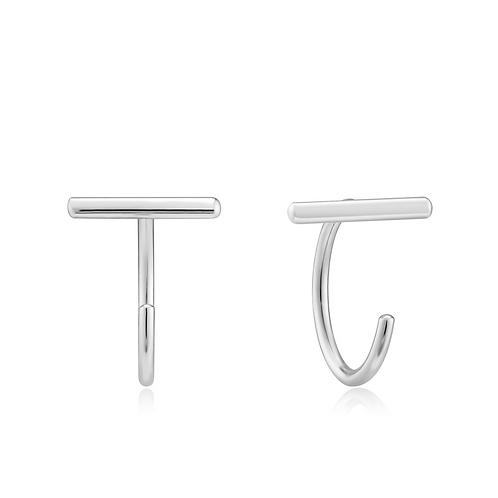 Oorbellen T-bar twist silver