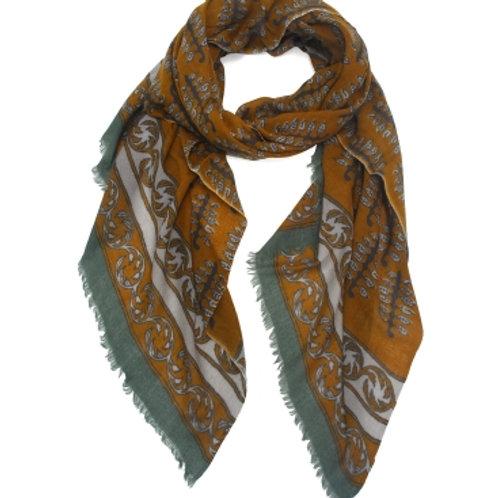 Sjaal bruin-groen 100% wol