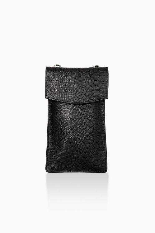Détail mobile phone bag leder zwart