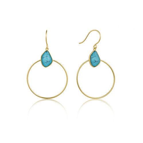Turkoois front hoop earrings gold