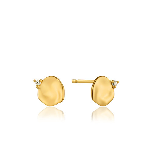 Crush disc stud earrings gold