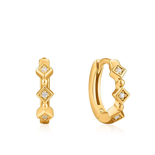 Sparkle huggie hoops earrings gold
