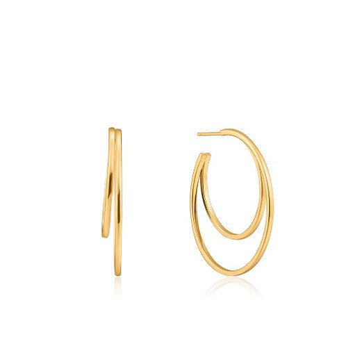Crescent hoop earrings gold