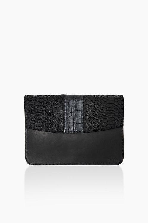 Détail schoudertas zwart L slangenprint