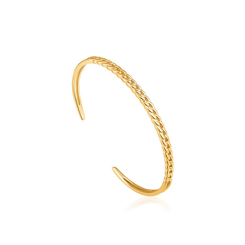 Curb chain cuff bracelet gold