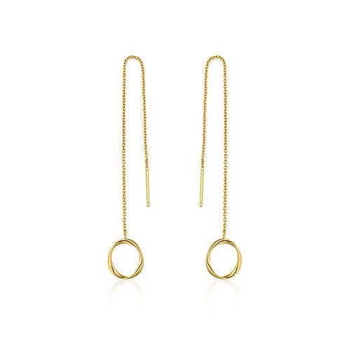 Swirl threader earrings gold