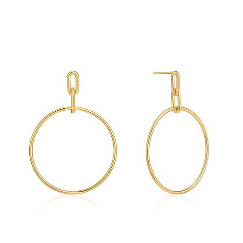 Cable link hoop earrings gold