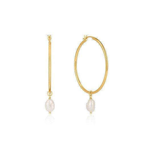 Pearl hoop earrings gold