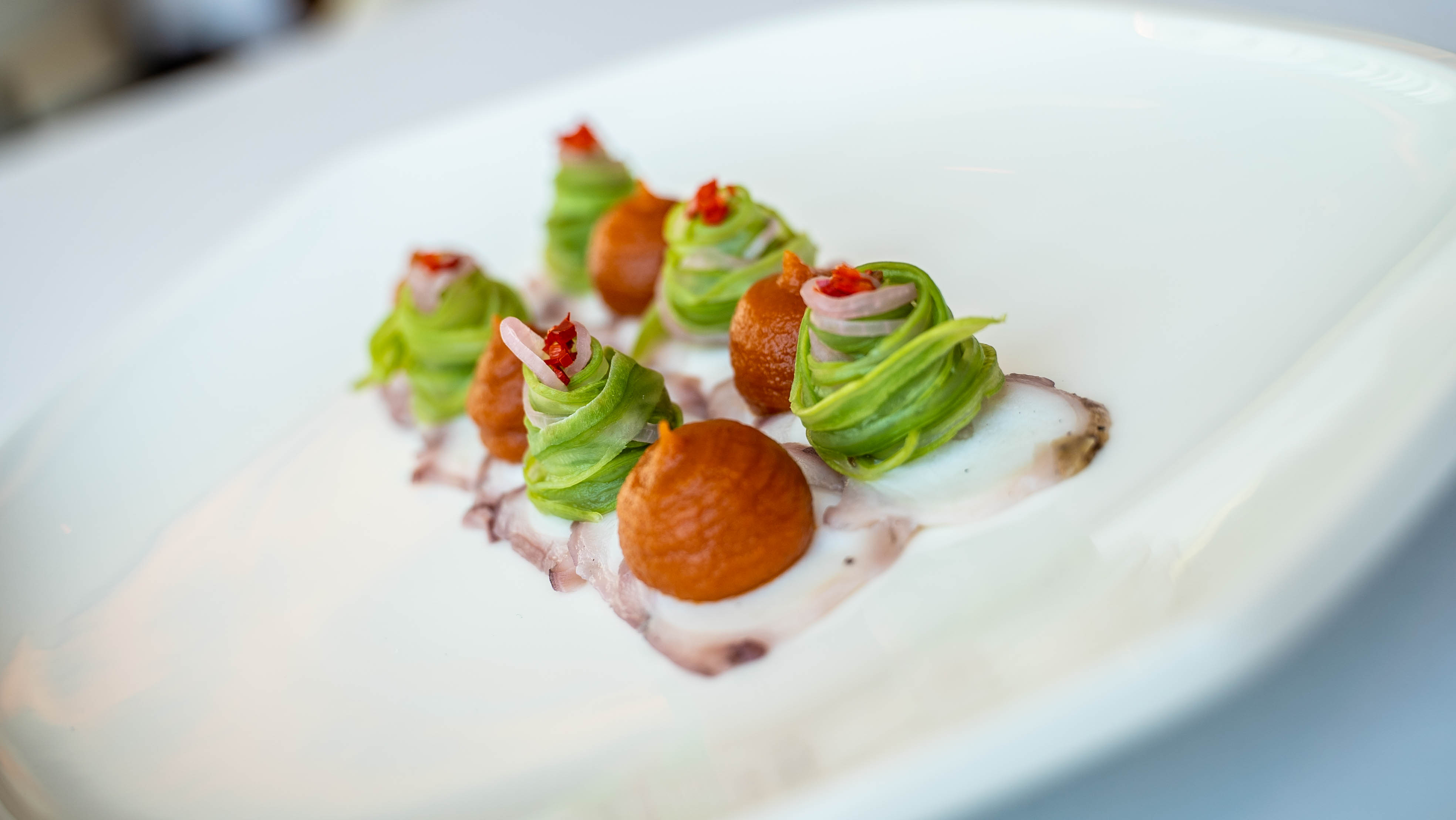 Octopus, smoked tomato salsa & green bea